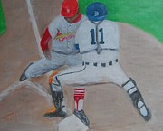 Baseball Painting Metal Prints - Out Metal Print by Timothy Johnson