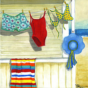 Beach Towel Painting Posters - Out To Dry Poster by Debbie Brown
