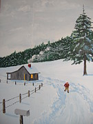 Snow Drifts Paintings - Out to Get the Mail by Norm Starks