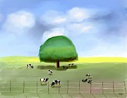 Bovines Posters - Out To Pasture Poster by Arline Wagner