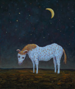 Night Prints - Out to Pasture Print by James W Johnson