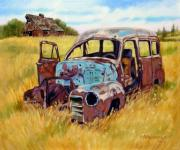 Old Barn Painting Posters - Out to Pasture Poster by John Lautermilch