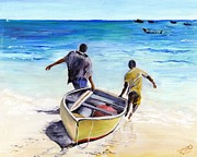 Caribbean Sea Painting Framed Prints - Out To Sea Framed Print by Richard Jules