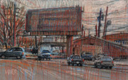 Industrial Pastels Originals - Outdoor Advertising by Donald Maier