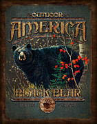Retro Antique Posters - Outdoor Bear Poster by JQ Licensing