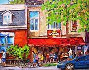 Quebec Paintings - Outdoor Cafe by Carole Spandau