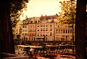Sparkling Prints - Outdoor Cafe in Lucerne Switzerland  Print by Susanne Van Hulst