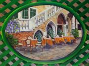 Lattice Painting Metal Prints - Outdoor Cafe In Venice Metal Print by Charlotte Blanchard