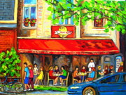 Outdoor Cafes Posters - Outdoor Cafe On St. Denis In Montreal Poster by Carole Spandau