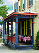 Cafe Prints - Outdoor Cafe with Checkered Tablecloths Print by Susan Savad
