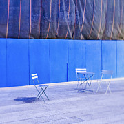 Blue Tarp Posters - Outdoor Chairs and Table Poster by Eddy Joaquim