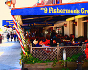 San Francisco Landmarks Digital Art Metal Prints - Outdoor Dining At The Fishermens Grotto Restaurant . Fisherman.s Wharf . San Francisco California Metal Print by Wingsdomain Art and Photography
