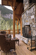 Front Porch Prints - Outdoor Fireplace Print by Robert Pisano