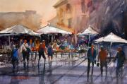 Rome Cityscape Paintings - Outdoor Market - Rome by Ryan Radke