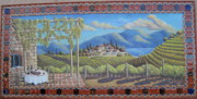 Vineyards Mixed Media - Outdoor Mural with Tile Border by Patty Rebholz