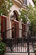 Red Doors Prints - Outdoor Restaurant Print by James Eddy
