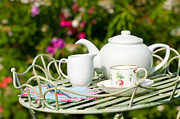 Teapot Posters - Outdoor Tea Party Poster by Christopher Elwell and Amanda Haselock