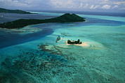 Helicopters Prints - Outer Islands Of Bora Bora As Seen Print by Todd Gipstein