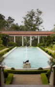 Manicured Prints - Outer Peristyle Pool and Fountain Getty Villa Print by Teresa Mucha