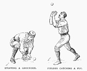 Outfield Framed Prints - Outfielder, 1889 Framed Print by Granger