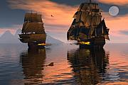 Tall Ships Digital Art Framed Prints - Outgunned Framed Print by Claude McCoy