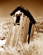 Ghost Town Outhouse Posters - Outhouse at Bodie Poster by David Lee Thompson