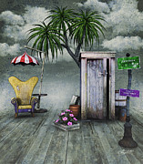 Barrel Digital Art - Outhouse by Jutta Maria Pusl