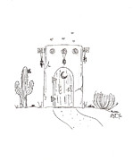 Adobe Drawings Prints - Outhouse Print by MJ Marin