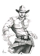 Cowboy Pencil Drawing Prints - Outlaw Print by Murphy Elliott