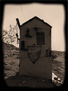 Ghost Town Outhouse Posters - Outlaws Not Welcome Poster by Cindy Nunn