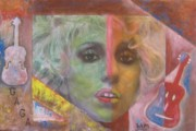 Lady Gaga Painting Originals - Outrageously Colourful Lady Gaga in  by Sam Shaker