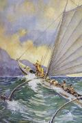 Archival Paintings - Outrigger at Sea by Hawaiian Legacy Archive - Printscapes