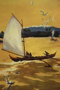 Archival Paintings - Outrigger Off Shore by Hawaiian Legacy Archive - Printscapes