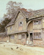 Women Children Metal Prints - Outside a Timbered Cottage Metal Print by Helen Allingham