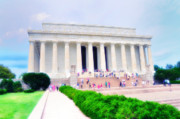 Washington Mall Prints - Outside the Lincoln Memorial Print by Bill Cannon