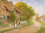 Country Cottage Framed Prints - Outside the Village Inn Framed Print by Arthur Claude Strachan