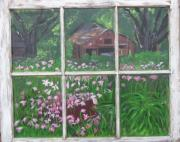 Landscapes Glass Art Originals - Outside The Window by Peggy Roberson