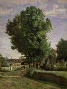 Pastoral Framed Prints - Outskirts of a village near Beauvais Framed Print by Jean Baptiste Camille  Corot