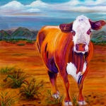 Greeting  Cards. Arizona Paintings - Outstanding in His Field by Andrea Folts