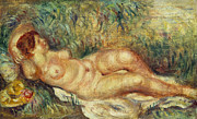 Reclining Female Nude Posters - Outstretched Nude Poster by Pierre Auguste Renoir
