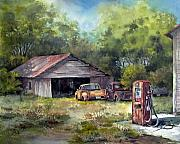Old Trucks Paintings - Outta Gas by Tina Bohlman