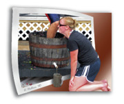 Wine Pouring Prints - Over A Barrel Print by Brian Wallace