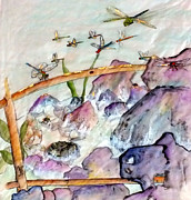 Dragonflys Paintings - Over And In The Pond by Debbi Chan