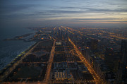 Night Photos - Over Chicago at Dusk by Sheryl Thomas