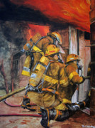 Fire Gear Paintings - Over Head Heat by Paul Walsh