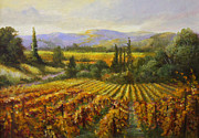 Napa Valley Vineyard Prints - Over Looking Calistoga SOLD Print by Gail Salituri