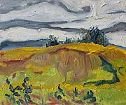 Francois Fournier Paintings - Over The Golden Field Quebec Canada by Francois Fournier