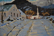 New England Village  Paintings - Over The Hill by Len Stomski
