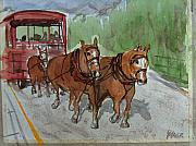 Trolley Paintings - Over The Hill by Pete Maier