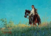 Lakota Paintings - Over the Horizon by Jim Clements